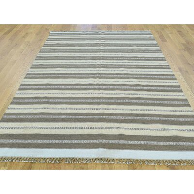 One-of-a-Kind Cilley Striped Flat Weave Hand-Woven Wool Ivory/Taupe Area Rug