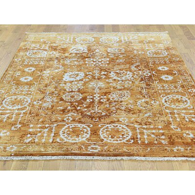One-of-a-Kind Dyess Tabriz Hand-Knotted Orange Area Rug