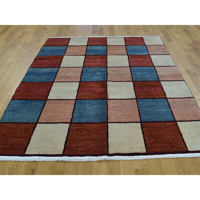 One-of-a-Kind Lacasse Geometric Hand-Knotted Wool Red/Blue Area Rug