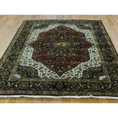 One-of-a-Kind Mair Fine Kashan Hand-Knotted Wool Red/Black Area Rug