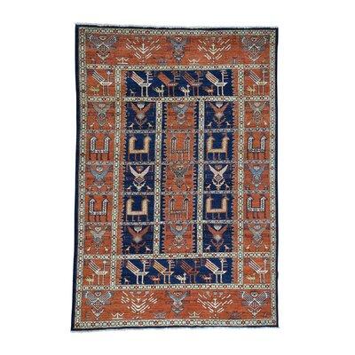 One-of-a-Kind Hoffman Caucasian Akstafa Hand-Knotted Wool Blue Area Rug