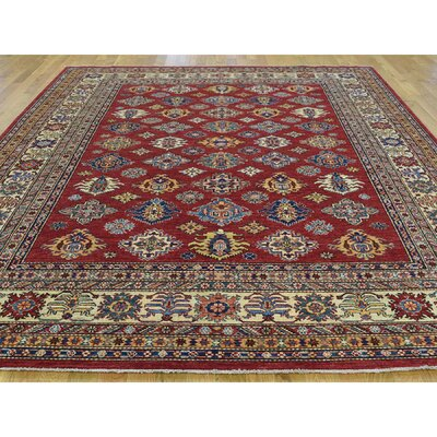 One-of-a-Kind Mair Super Kazak Hand-Knotted Wool Red Area Rug