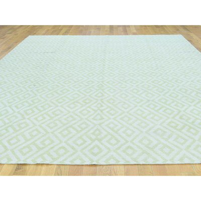 One-of-a-Kind Cilley Reversible Flat-Weave Hand-Knotted Wool Light Green Area Rug Rug Size: Rectangle 810 x 116