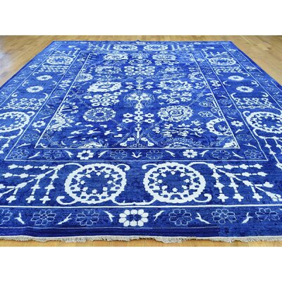 One-of-a-Kind Tabriz Hand-Knotted Blue Area Rug Rug Size: Rectangle 99 x 142