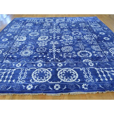 One-of-a-Kind Tabriz Hand-Knotted Blue Area Rug Rug Size: Square 12 x 122