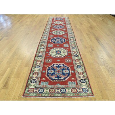 Sanjuana One-of-a-Kind Kazak Tribal Hand-Knotted Wool Red Area Rug Rug Size: Runner 210 x 132