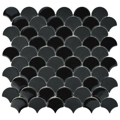 Esamo Scallop 1.74 x 1.88 Glass Mosaic Tile in Black
