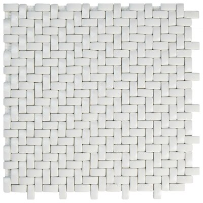 Esamo Weave 0.48 x 0.96 Glass Mosaic Tile in White