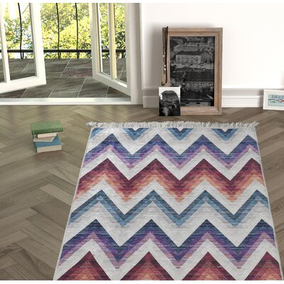 Nuzzo Red/Blue Indoor/Outdoor Area Rug Size: Rectangle 53 x 76