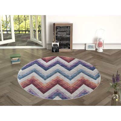 Nuzzo Red/Blue Indoor/Outdoor Area Rug Size: Round 47