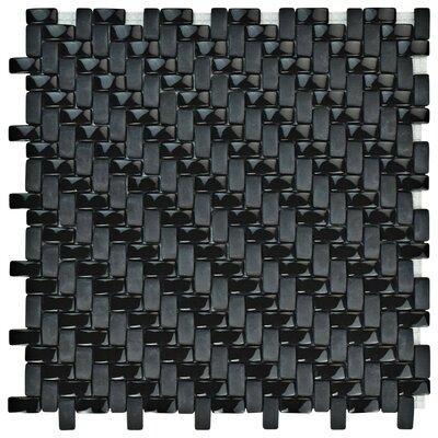 Esamo Weave 0.48 x 0.96 Glass Mosaic Tile in Black