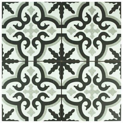 Junius 9.75 x 9.75 Porcelain Field Tile in Black