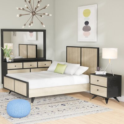 Bobby Mid Century Platform 3 Piece Rubberwood Bedroom Set Size: Queen