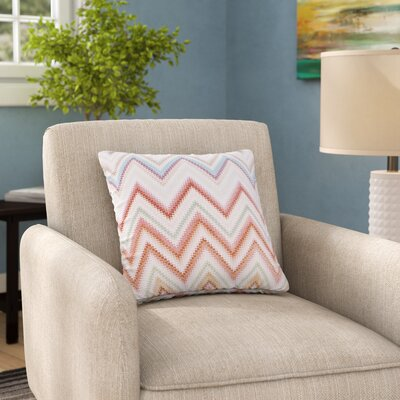 Nika Martinez Seventies Chevron Outdoor Throw Pillow Size: 18 H x 18 W x 5 D, Color: Beige