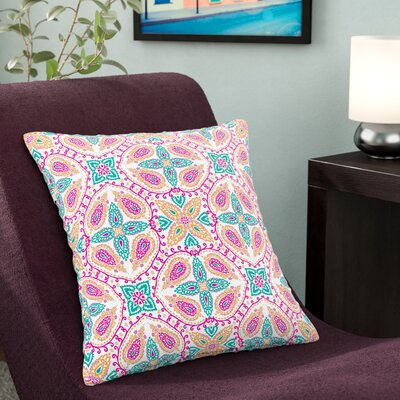 Nandita Singh Boho Pattern Outdoor Throw Pillow Size: 18 H x 18 W x 5 D, Color: Pink