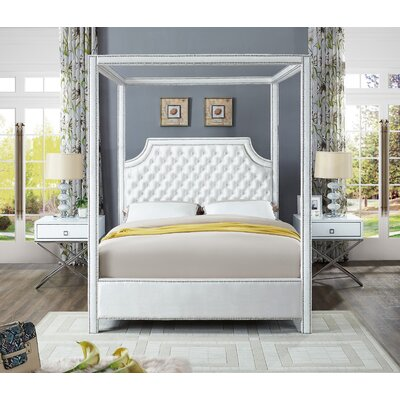 Emet Upholstered Platform Bed Size: King, Color: White