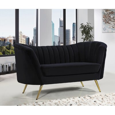 Koger Chesterfield Loveseat Upholstery: Black