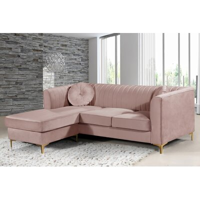 Burdinne Reversible Sectional Upholstery: Pink
