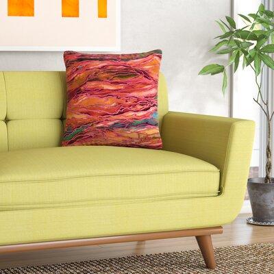 Ebi Emporium Marble Idea! Painting Outdoor Throw Pillow Size: 18 H x 18 W x 5 D, Color: Orange/Red