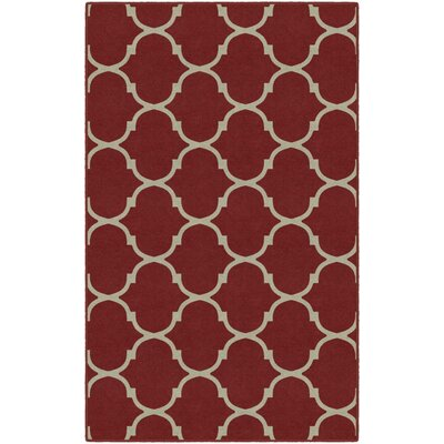 Antunez Moroccan Trellis Lattice Red Area Rug Rug Size: Rectangle 34 x 5