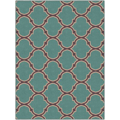 Heatherstone Moroccan Trellis Lattice Teal Area Rug Rug Size: Rectangle 26 x 310
