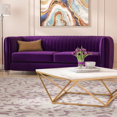 Kolby Velvet Channel Quilted Turned Leg Sofa Upholstery: Purple