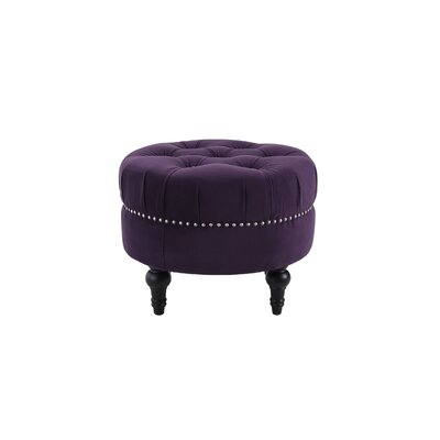 Holmquist Tufted Round Standard Ottoman Upholstery: Purple