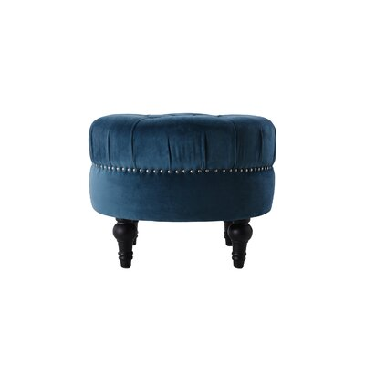 Holmquist Tufted Round Standard Ottoman Upholstery: Satin Teal