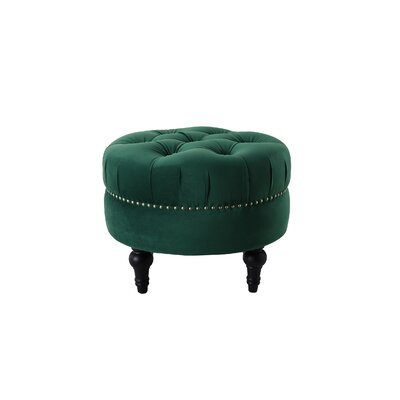 Holmquist Tufted Round Standard Ottoman Upholstery: Evergreen