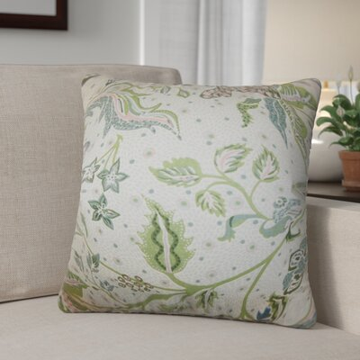 Peggy Floral Cotton Throw Pillow Color: Aqua Green