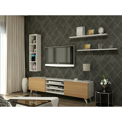 Demetrius 71 TV Stand Color: Walnut/White