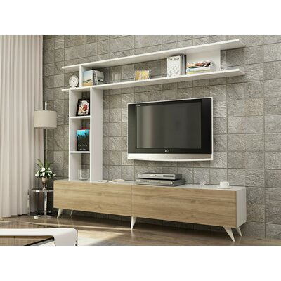 Demetria 71 TV Stand Color: Walnut/White