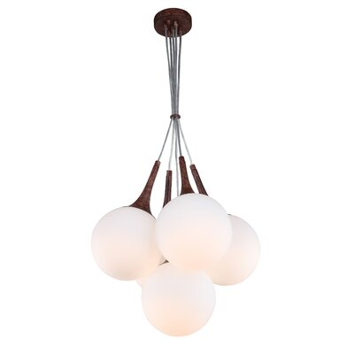 Ovellette Tight 5-Light LED Cluster Pendant Finish: Walnut