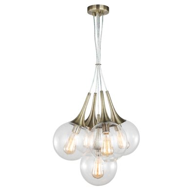 Ovellette Tight 5-Light Cluster Pendant Finish: Brushed Brass