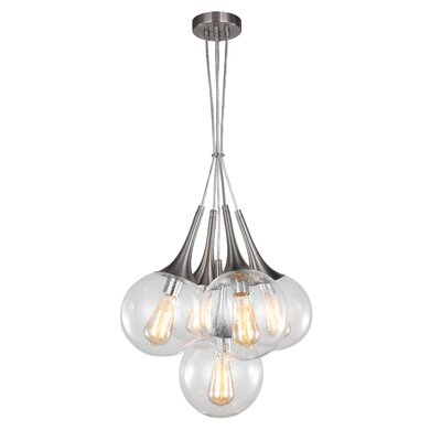 Ovellette Tight 5-Light Cluster Pendant Finish: Satin Nickel