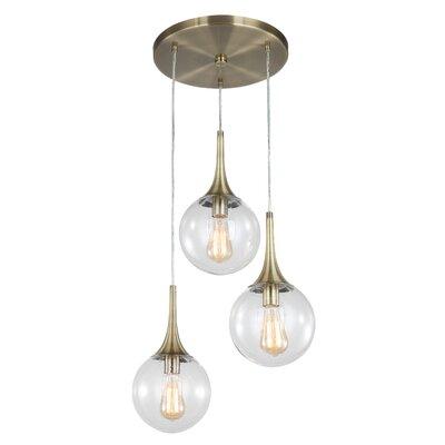 Ovellette 3-Light Cluster Pendant Finish: Brushed Brass