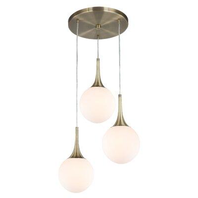 Ovellette 3-Light LED Cluster Pendant Finish: Brushed Brass