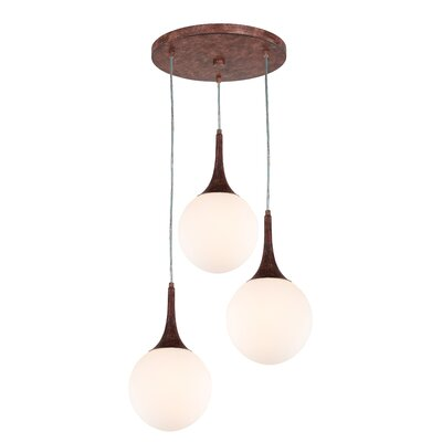 Ovellette 3-Light LED Cluster Pendant Finish: Walnut