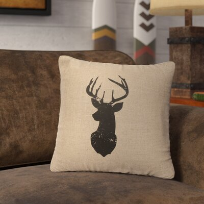 Lansford Deer Head Silhouette Throw Pillow Color: Natural
