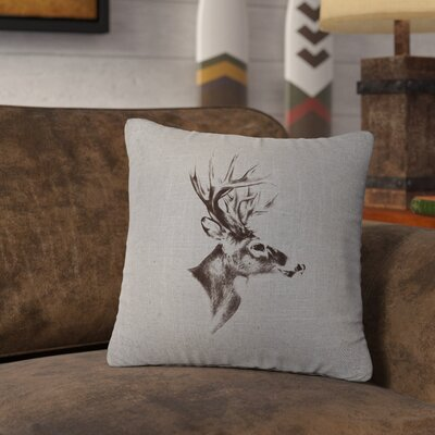 Lansford Deer Profile Throw Pillow Color: Gray