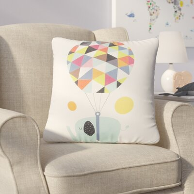 Claudio Cute Baby Elephant and Hot Balloon Throw Pillow