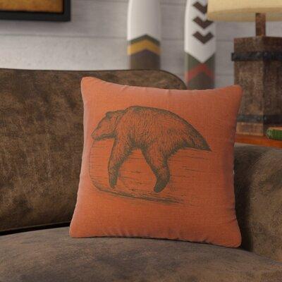 Nailwell Bear On A Log Throw Pillow Color: Paprika