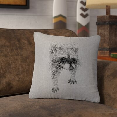 Nagata Raccoon Throw Pillow Color: Gray