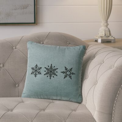 Leffel 3 Snowflakes Throw Pillow Color: Ocean