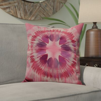 Dabria Shibori Burst Outdoor Throw Pillow Size: 16 H x 16 W, Color: Pink