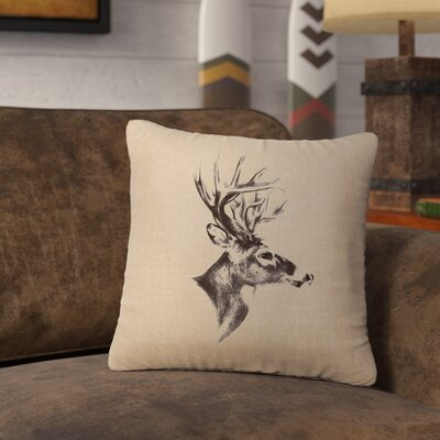 Lansford Deer Profile Throw Pillow Color: Natural