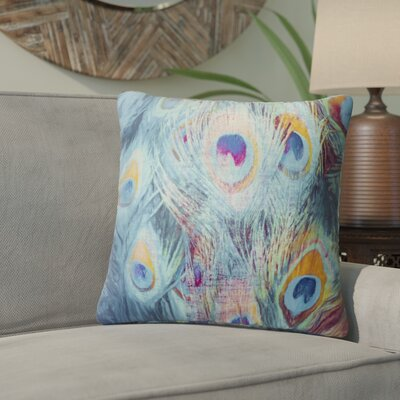 Dylan Feather Throw Pillow Color: Blue, Size: 24 x 24
