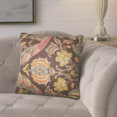 Mohall Floral Linen Throw Pillow Cover Color: Espresso
