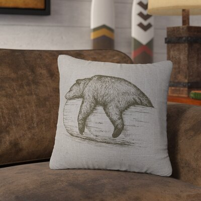 Nailwell Bear On A Log Throw Pillow Color: Gray