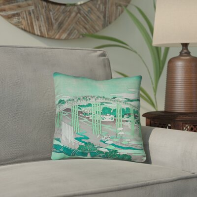 Enya Japanese Bridge Pillow Cover Color: Green, Size: 14 x 14